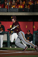 Gage Canning (12) of the Arizona Sun Devils bats against the Southern California Trojans at Dedeaux Field on March 24, 2017 in Los Angeles, California. Southern California defeated Arizona State, 5-4. (Larry Goren/Four Seam Images)