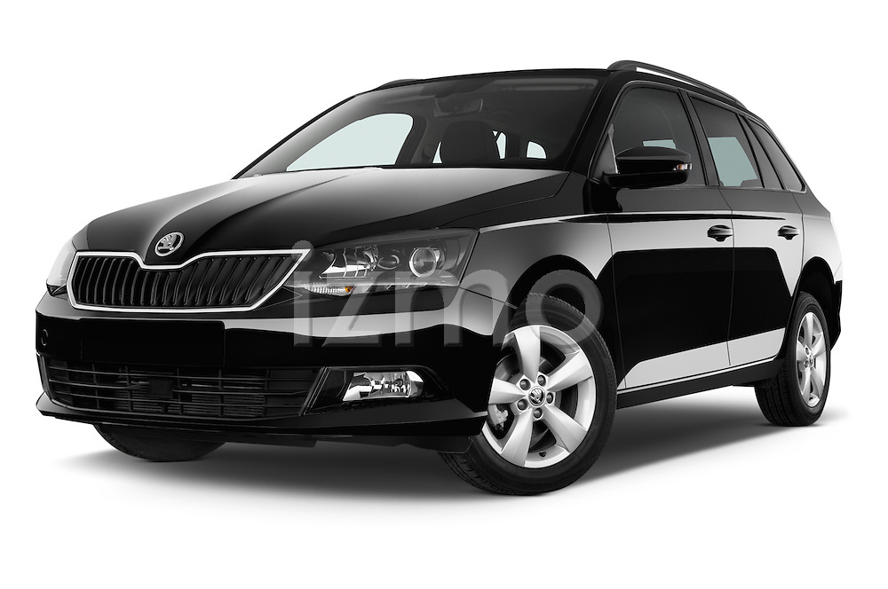 Stock pictures of low aggressive front three quarter view of a 2015 Skoda Fabia Ambition 5 Door Wagon Low Aggressive