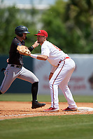 Florida Fire Frogs first baseman Drew Lugbauer (17) waits for a throw as Connor Grant (13) gets back to the bag during a Florida State League game against the Jupiter Hammerheads on April 11, 2019 at Osceola County Stadium in Kissimmee, Florida.  Jupiter defeated Florida 2-0.  (Mike Janes/Four Seam Images)