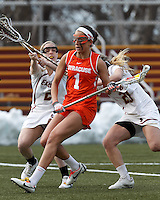 Syracuse University attacker Alyssa Murray (1) on the attack.   Syracuse University (orange) defeated Boston College (white), 17-12, on the Newton Campus Lacrosse Field at Boston College, on March 27, 2013.