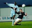 01/01/2005  Copyright Pic : James Stewart.File Name : jspa09_falkirk_v_raith-rovers.HAMED SACKO AND NEILL SCALLY CHALLENGE FOR THE BALL....Payments to :.James Stewart Photo Agency 19 Carronlea Drive, Falkirk. FK2 8DN      Vat Reg No. 607 6932 25.Office     : +44 (0)1324 570906     .Mobile   : +44 (0)7721 416997.Fax         : +44 (0)1324 570906.E-mail  :  jim@jspa.co.uk.If you require further information then contact Jim Stewart on any of the numbers above.........