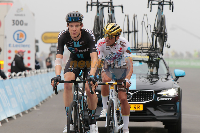 Nils Eekhoff (NED) Team DSMand Olympic Champion Greg Van Avermaet (BEL) AG2R Citroën Team on the final climb of Luz-Ardiden during Stage 18 of the 2021 Tour de France, running 129.7km from Pau to Luz-Ardiden, France. 15th July 2021.  <br /> Picture: Colin Flockton | Cyclefile<br /> <br /> All photos usage must carry mandatory copyright credit (© Cyclefile | Colin Flockton)