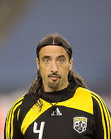 Columbus Crew defender Gino Padula (4). The Columbus Crew defeated the New England Revolution, 1-0, at Gillette Stadium on October 10, 2009.