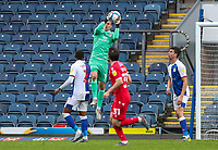 Blackburn Rovers' Thomas Kaminski catches a cross<br /> <br /> Photographer Alex Dodd/CameraSport<br /> <br /> The EFL Sky Bet Championship - Blackburn Rovers v Nottingham Forest - Saturday 17th October 2020 - Ewood Park - Blackburn<br /> <br /> World Copyright © 2020 CameraSport. All rights reserved. 43 Linden Ave. Countesthorpe. Leicester. England. LE8 5PG - Tel: +44 (0) 116 277 4147 - admin@camerasport.com - www.camerasport.com