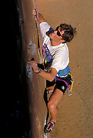 Man rock climbing, photographed from above, Rocky Mountains, CO. ,  Colorado.