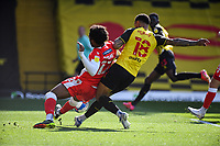 24th April 2021; Vicarage Road, Watford, Hertfordshire, England; English Football League Championship Football, Watford versus Millwall; Andre Gray of Watford with an attempt on goal.