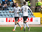 Dundee v St Johnstone...15.08.15  SPFL   Dens Park, Dundee<br /> Steven MacLean celebrates his goal with Dave MAckay<br /> Picture by Graeme Hart.<br /> Copyright Perthshire Picture Agency<br /> Tel: 01738 623350  Mobile: 07990 594431