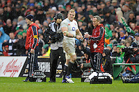 James Haskell of England shows emotion as he is sent to the sin bin by referee Jerome Garces during the RBS 6 Nations match between Ireland and England at the Aviva Stadium, Dublin on Sunday 10 February 2013 (Photo by Rob Munro)