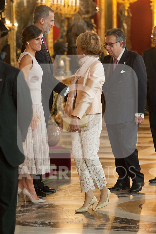 Queen Letizia of Spain, King Felipe VI of Spain and Maria Teresa Fernandez de la Vega attends to Sapnish National Day palace reception at the Royal Palace in Madrid, Spain. October 12, 2018. (ALTERPHOTOS/A. Perez Meca)
