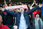 © Joel Goodman - 07973 332324 . 18/05/2016 . Accrington , UK . Accrington Stanley fans cheer as their team goes a goal ahead from a penalty . Accrington Stanley take on AFC Wimbledon at the Wham Stadium , in the 2nd leg of their League Two tie , the result from which will decide which team goes on to the final at Wimbledon . Photo credit : Joel Goodman