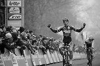 Wout Van Aert (BEL/Vastgoedservice-Golden Palace) beating Mathieu Vanderpoel (NLD/BKCP-Powerplus) in the finish sprint<br /> <br /> Flandriencross Hamme 2014