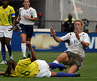 Ally Wagner(USA) v Rosana(Bra).US Women's National Team vs Brazil at Legion Field in Birmingham, Alabama.