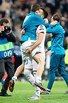 Real Madrid Nacho Fernandez and Marco Asensio during Semi Finals UEFA Champions League match between Real Madrid and Bayern Munich at Santiago Bernabeu Stadium in Madrid, Spain. May 01, 2018. (ALTERPHOTOS/Borja B.Hojas)