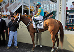 09 May 15: Heart Ashley and Garrett Gomez pose in the winners' circle after winning the grade 3 Miss Preakness Stakes at Pimlico Race Track in Baltimore, Maryland.
