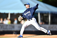 Asheville Tourists starting pitcher Nick Bush (29) delivers a pitch during a game against the Lakewood BlueClaws at McCormick Field on June 13, 2019 in Asheville, North Carolina. The BlueClaws defeated the Tourists 4-3. (Tony Farlow/Four Seam Images)