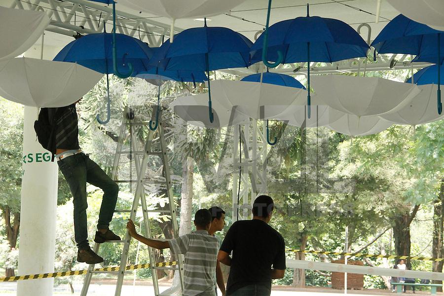 ATENCAO EDITOR IMAGEM EMBARGADA PARA VEICULOS INTERNACIONAIS -  SAO PAULO, SP, 23 JANEIRO 2013 - Escultura em forma de Baleia feita com garrafas pet sendo montado no Parque Ibirapuera, zona sul de São Paulo (SP), nesta quarta-feira (23). A obra de arte está sendo montada em homenagem aos 459 anos da capital paulista, que serão comemorados na sexta-feira, dia 25.(FOTO: AMAURI NEHN / BRAZIL PHOTO PRESS).