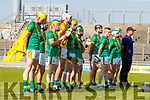 Kilmoyley players before the Kerry County Senior Hurling Championship Final match between Kilmoyley and Causeway at Austin Stack Park in Tralee