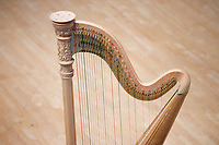 A harp sits on stage before a performance during Stage III at the 11th USA International Harp Competition at Indiana University in Bloomington, Indiana on Wednesday, July 10, 2019. (Photo by James Brosher)