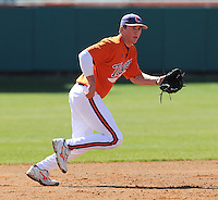 Infielder Seth Neely (21) of the Clemson Tigers prior to a game against the Wright State Raiders Saturday, Feb. 27, 2011, at Doug Kingsmore Stadium in Clemson, S.C. Photo by: Tom Priddy/Four Seam Images