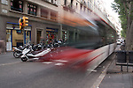 Motion Study of bus in Barcelona Spain.  Slow shutter speed allowed special effect