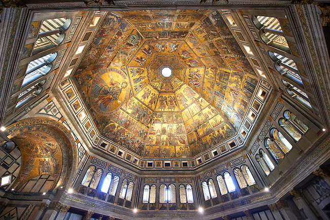 The interior of the Bapistry of Florence  Duomo ( Battistero di San Giovanni ) with the medieval ceiling mosaics. Florence Italy