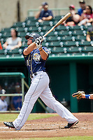 San Antonio Missions designated hitter Hunter Renfroe (10) swings the bat during the Texas League baseball game against the Midland RockHounds on June 28, 2015 at Nelson Wolff Stadium in San Antonio, Texas. The Missions defeated the RockHounds 7-2. (Andrew Woolley/Four Seam Images)