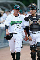 Jamestown Jammers Jose Fernandez #37, the Marlins first round draft choice, walks to the dugout with catcher Austin Barnes #8 before a game against the Mahoning Valley Scrappers at Russell E. Diethrick Jr Park on September 2, 2011 in Jamestown, New York.  Mahoning Valley defeated Jamestown 8-4.  (Mike Janes/Four Seam Images)