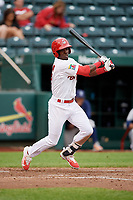 Springfield Cardinals right fielder Jose Adolis Garcia (47) follows through on a swing during a game against the Corpus Christi Hooks on May 31, 2017 at Hammons Field in Springfield, Missouri.  Springfield defeated Corpus Christi 5-4.  (Mike Janes/Four Seam Images)