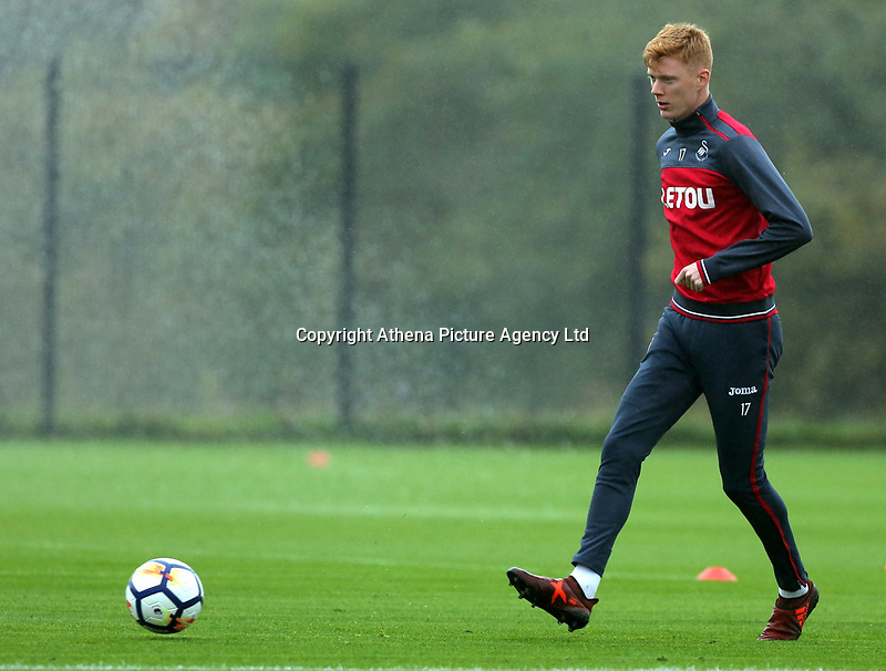 Sam Clucas in action during the Swansea City Training at The Fairwood Training Ground, Swansea, Wales, UK. Wednesday 18 October 2017