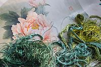 Suzhou, Jiangsu, China.  Embroidery Art in Progress.