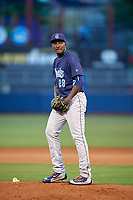 Corpus Christi Hooks relief pitcher Akeem Bostick (28) gets ready to deliver a pitch during a game against the Tulsa Drillers on June 3, 2017 at ONEOK Field in Tulsa, Oklahoma.  Corpus Christi defeated Tulsa 5-3.  (Mike Janes/Four Seam Images)