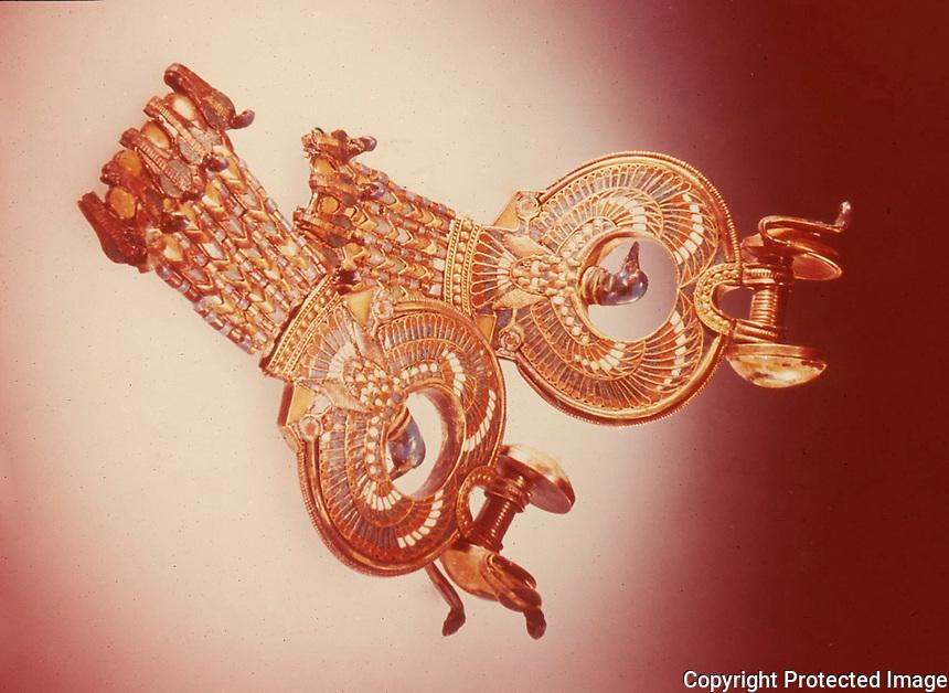 Egypt:  Earrings--gold clossonne with gems.  Treasures of Tutankhamun,  Cairo Museum.  MMA 1976.