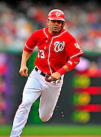 24 May 2009: Washington Nationals' catcher Wil Nieves on the base path during a game against the Baltimore Orioles at Nationals Park in Washington, DC. The Nationals rallied to defeat the Orioles 8-5 and salvage one win of their interleague series. Mandatory Credit: Ed Wolfstein Photo