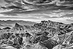 Infrared image of Zabriskie Point with dramatic clouds