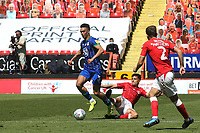 Antonee Robinson of Wigan eludes a tackle and moves forward with the ball during Charlton Athletic vs Wigan Athletic, Sky Bet EFL Championship Football at The Valley on 18th July 2020