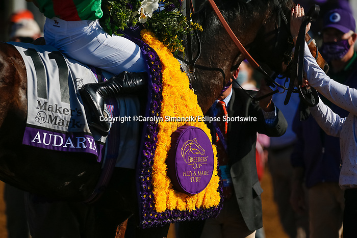 November 7, 2020 : Audarya, ridden by Pierre-Charles Boudot, wins the Maker's Mark Filly & Mare Turf on Breeders' Cup Championship Saturday at Keeneland Race Course in Lexington, Kentucky on November 7, 2020. Carolyn Simancik/Breeders' Cup/Eclipse Sportswire/CSM