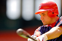 11 June 2006: Ryan Zimmerman, third baseman for the Washington Nationals, takes a practice swing prior to a game against the Philadelphia Phillies at RFK Stadium, in Washington, DC. The Nationals shut out the visiting Phillies 6-0 to take the series three games to one...Mandatory Photo Credit: Ed Wolfstein Photo..