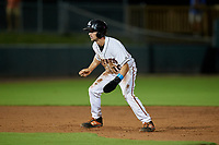 Delmarva Shorebirds Adam Hall (10) leads off during a South Atlantic League game against the Greensboro Grasshoppers on August 21, 2019 at Arthur W. Perdue Stadium in Salisbury, Maryland.  Delmarva defeated Greensboro 1-0.  (Mike Janes/Four Seam Images)