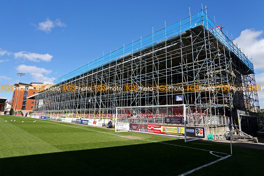 Scaffolding in place on the East Stand during Leyton Orient vs Walsall, Sky Bet EFL League 2 Football at The Breyer Group Stadium on 5th April 2021