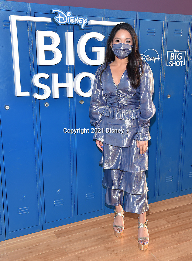 """LOS ANGELES, CA - APRIL 14: Tisha Custodio attends the world premiere drive-in screening of the Disney + original series """"BIG SHOT"""" at The Grove in Los Angeles, California on April 14, 2021. (Photo by Stewart Cook/Disney +/PictureGroup)"""