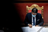 The Italian Premier Giuseppe Conte during the information at the Senate about the government crisis.<br /> Rome(Italy), January 19th 2021<br /> Photo Pool Francesco Fotia/Insidefoto