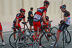 BMC Racing Team riders relax before the start of Stage 1 of the Tour of Qatar 2012 running from Barzan Towers to Doha Golf Club, Doha, Qatar. 5th February 2012.<br /> (Photo by Eoin Clarke/NEWSFILE).