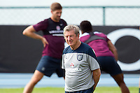 England manager Roy Hodgson and Steven Gerrard during training