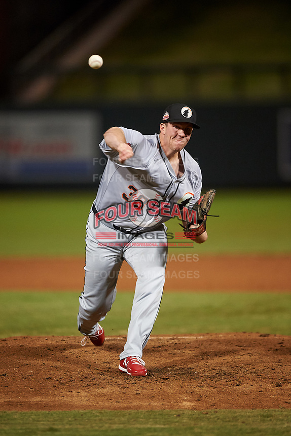 Glendale Desert Dogs relief pitcher Seth Elledge (38), of the St. Louis Cardinals organization, during an Arizona Fall League game against the Scottsdale Scorpions on September 20, 2019 at Salt River Fields at Talking Stick in Scottsdale, Arizona. Scottsdale defeated Glendale 3-2. (Zachary Lucy/Four Seam Images)