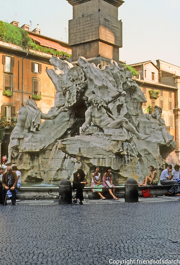 Italy: Rome--Bernini's Fountain, Piazza Navona. Photo '83.