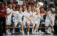 NORFOLK, VA--The Stanford Cardinal celebrates a bucket during play against West Virginia University at the Ted Constant Convocation Center at Old Dominion University for the second round of the 2012 NCAA Championships. The Cardinal advanced to the West Regionals in Fresno with a score of 72-55.