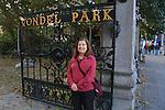 Beth at the entrance to Vondel Park, Amsterdam, Netherlands