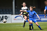 Niekie Pellens (41) of Eendracht Aalst pictured fighting for the ball with midfielder Jorien Voets (20) of KRC Genk during a female soccer game between Eendracht Aalst and Racing Genk on the 10 th and last matchday of play off 2 of the 2020 - 2021 season of Belgian Scooore Womens Super League , Saturday 29 st of May 2021  in Aalst , Belgium . PHOTO SPORTPIX.BE | SPP | DAVID CATRY