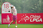 Min Young Lee of South Korea tees off at the 18th hole during Round 4 of the World Ladies Championship 2016 on 13 March 2016 at Mission Hills Olazabal Golf Course in Dongguan, China. Photo by Victor Fraile / Power Sport Images