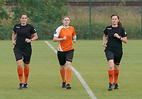 20200820 - TUBIZE , Belgium : Referees pictured during the warm up before a friendly match between Belgian national women's youth soccer team called the Red Flames U17 and Union Saint-Ghislain Tetre , on the 20th of August 2020 in Tubize.  PHOTO: Sportpix.be | SEVIL OKTEM